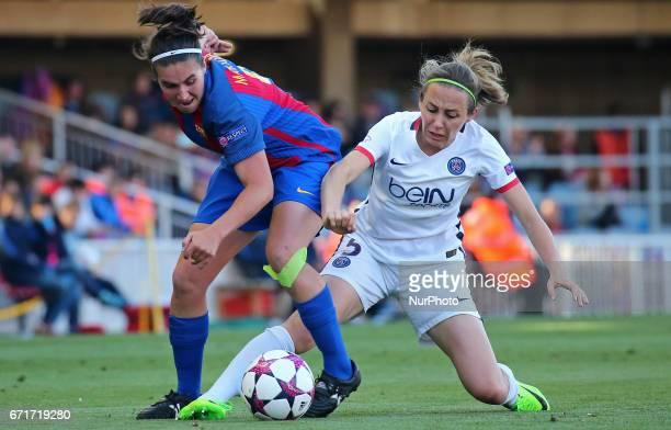 Marta Torrejon and Sabrina Delannoy during Womens UEFA Champions League match between FC Barcelona v PSG in Barcelona on April 22 2017