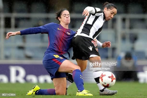 Marta Torrejon Moya of FC Barcelona Women Alba Aznar of Levante UD Women during the Iberdrola Women's First Division match between FC Barcelona v...