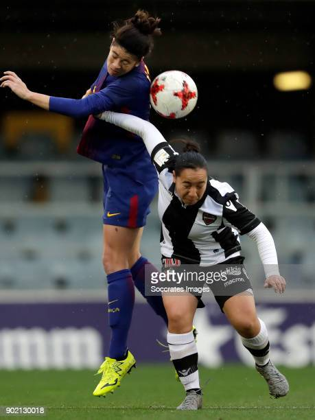 Marta Torrejon Moya of FC Barcelona Women Charlyn Corral of Levante UD Women during the Iberdrola Women's First Division match between FC Barcelona v...