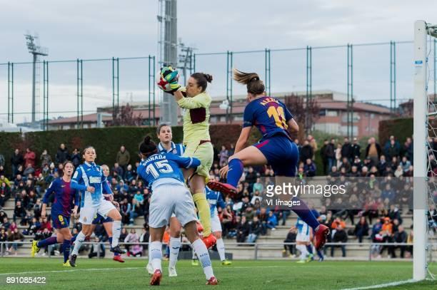 Marta Torrejon Moya of FC Barcelona women Dulce Maria Quintana Gimenez of Espanyol women Ayaki Shinada of Espanyol women Elisa del Estal Mateu of...