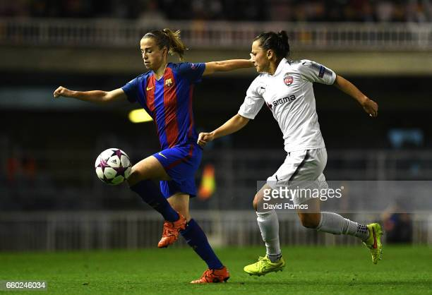Marta Torrejon of Barcelona and Ali Riley of Rosengard in action during the UEFA Women's Champions League QuarterFinal Second Leg match between...