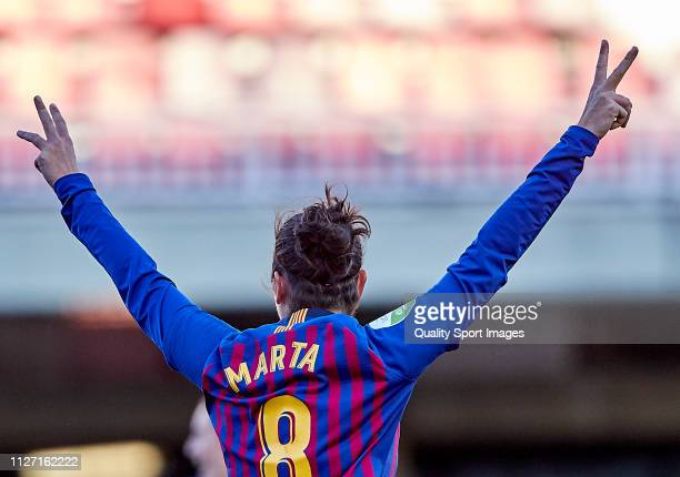 Marta Torrejon of FC Barcelona celebrates a goal during the Iberdrola Women's First Division match between FC Barcelona and Fundacion Albacete at the...