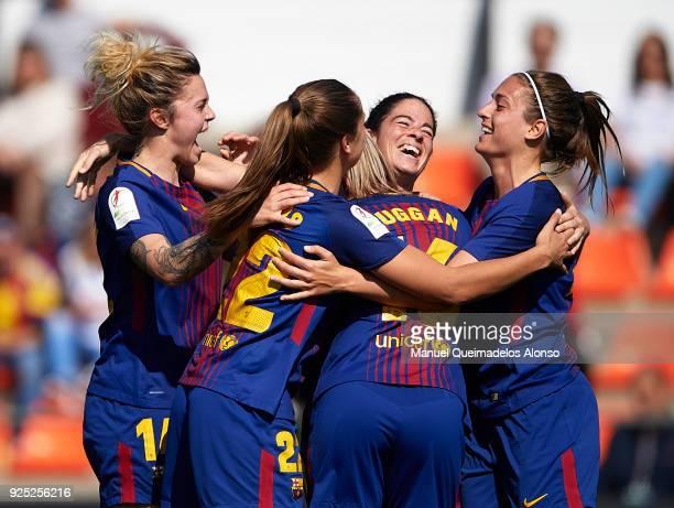 Marta Torrejon of FC Barcelona celebrates after scoring her sides second goal with her teammates during the Liga Femenina match between Valencia CF...