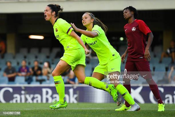 Marta Torrejon of FC Barcelona celebrates with her team mate Lieke Martens after scoring his team's second goal during the UEFA Women's Chamoions...