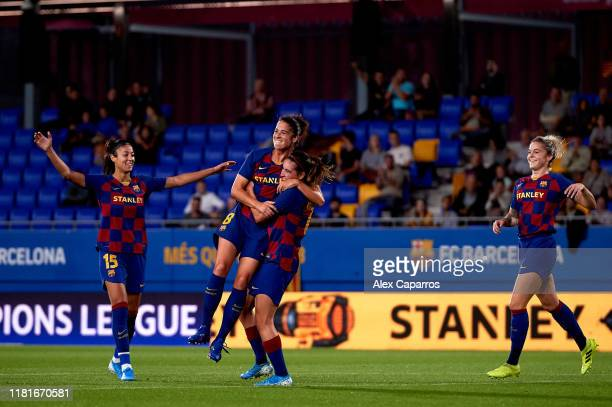 Marta Torrejon of FC Barcelona celebrates with her teammates Leila Ouahabi Andrea Pereira and Maria Leon after scoring her team's second goal during...