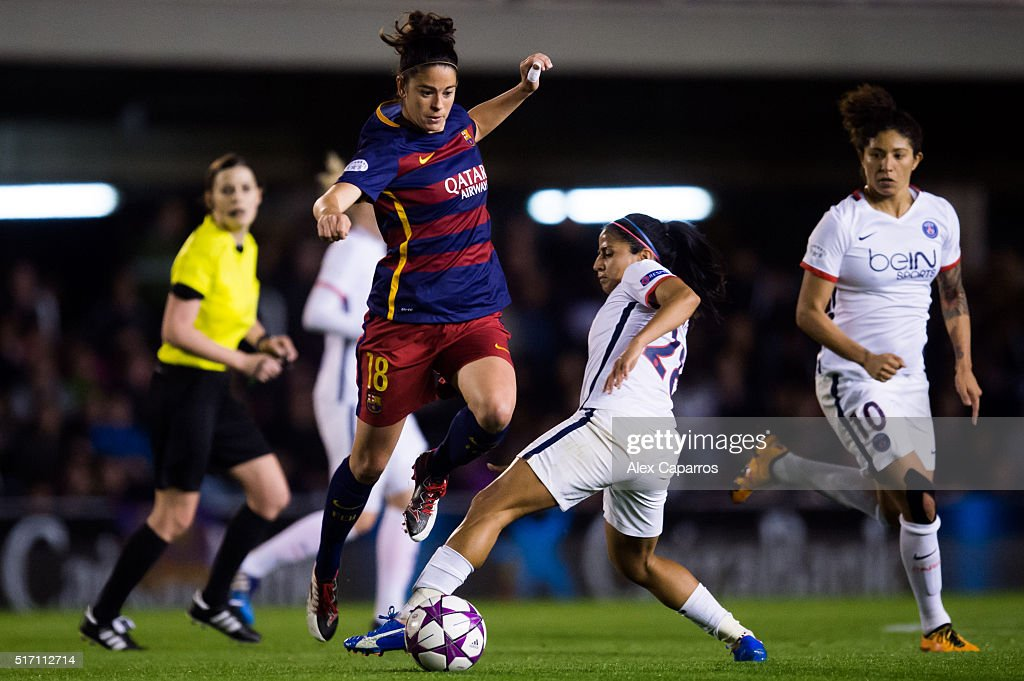 Marta Torrejon of FC Barcelona saves the tackle of Shirley Cruz of Paris Saint-Germain during the UEFA Women's Champions League Quarter Final first leg match between FC Barcelona and Paris Saint-Germain at Miniestadi on March 23, 2016 in Barcelona, Spain.