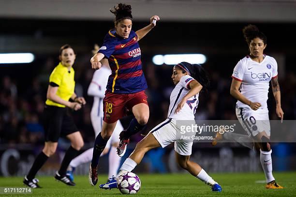 Marta Torrejon of FC Barcelona saves the tackle of Shirley Cruz of Paris SaintGermain during the UEFA Women's Champions League Quarter Final first...