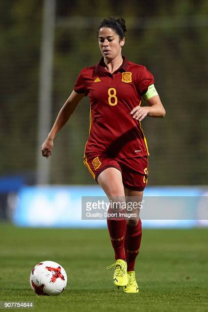 Marta Torrejon of Spain runs with the ball during the international friendly match between Spain Women and Netherlands Women at Pinatar Arena on...