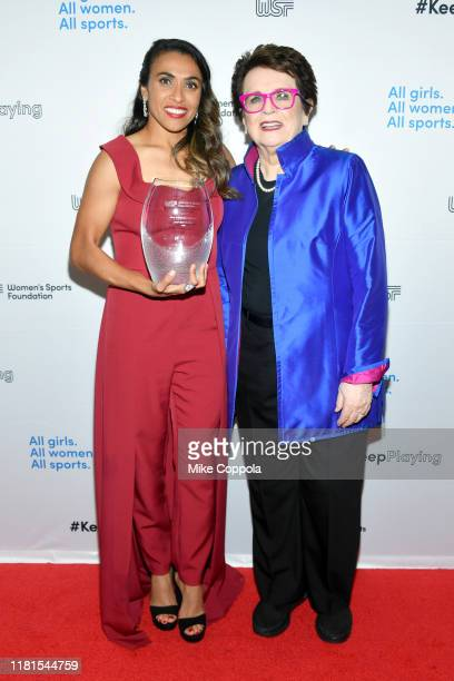 Marta Vieira Da Silva and Billie Jean King pose with an award backstage during The Women in Sports Foundation 40th Annual Salute to Women in Sports...