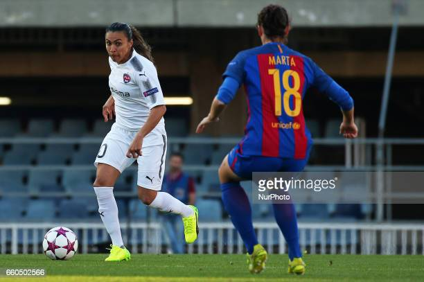 Marta Vieira da Silva and Marta Torrejon during the match between FC Barcelona and Rosengard corresponding to the 1/4 final of the UEFA womens...