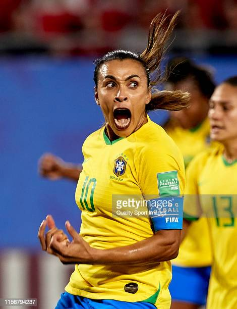 Marta Vieira da Silva of Brazil celebrating their team's first goal during the 2019 FIFA Women's World Cup France group C match between Italy and...