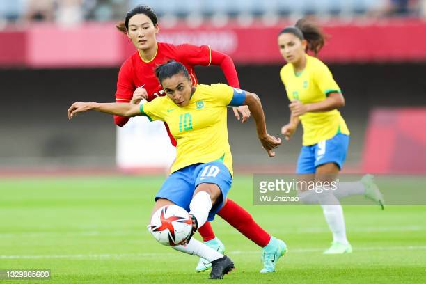 Marta Vieira da Silva of Brazil drives the ball in the Women's First Round Group F match between China and Brazil during the Tokyo 2020 Olympic Games...