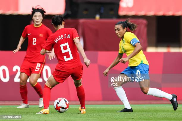 Marta Vieira da Silva of Brazil follows the ball in the Women's First Round Group F match between China and Brazil during the Tokyo 2020 Olympic...