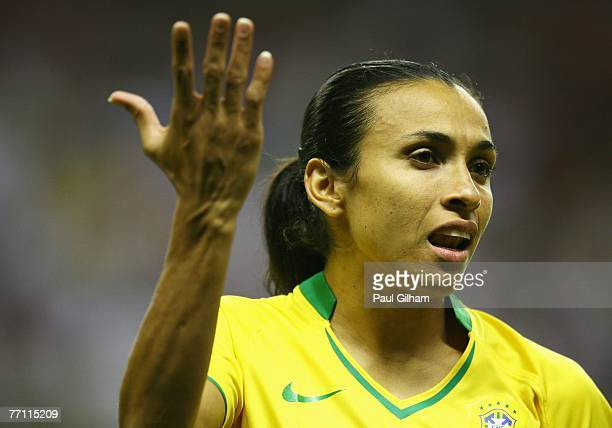 Marta Vieira Da Silva of Brazil shouts out during the Women's World Cup 2007 Final between Brazil and Germany at Shanghai Hongkou Football Stadium on...