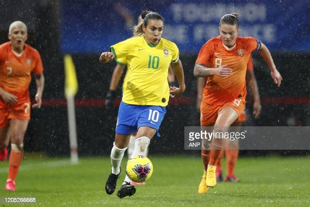 Marta Vieira da Silva of Brazil Women, Sherida Spitse of Holland Women during the women's international friendly Tournoi de France match between The...
