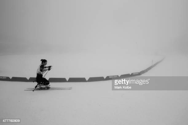 Marta Zaynullina of Russia competes in the Women's 10km Sitting Biathlon during day four of Sochi 2014 Paralympic Winter Games at Laura Crosscountry...