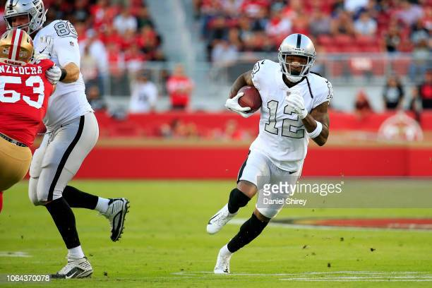 Martavis Bryant of the Oakland Raiders runs after a catch against the San Francisco 49ers at Levi's Stadium on November 1, 2018 in Santa Clara,...