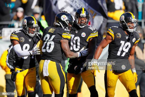 Martavis Bryant of the Pittsburgh Steelers celebrates with teammates after a touchdown reception against the Jacksonville Jaguars during the first...