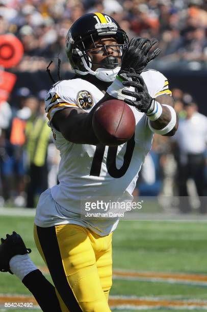 Martavis Bryant of the Pittsburgh Steelers drops the ball on a long pass play against the Chicago Bears at Soldier Field on September 24 2017 in...