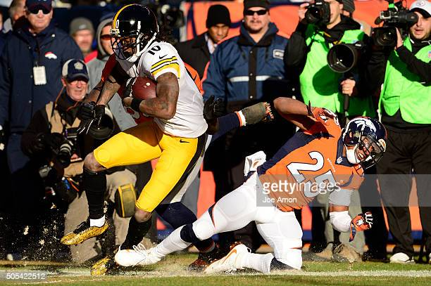 Martavis Bryant of the Pittsburgh Steelers gets down to the 16 yard line with a 40 yard run and is finally stopped by Chris Harris of the Denver...