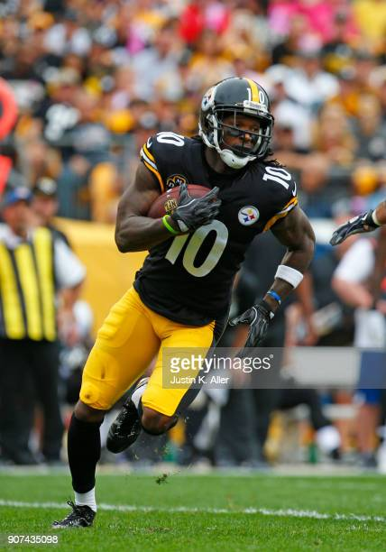 Martavis Bryant of the Pittsburgh Steelers in action against the Jacksonville Jaguars on October 8, 2017 at Heinz Field in Pittsburgh, Pennsylvania.