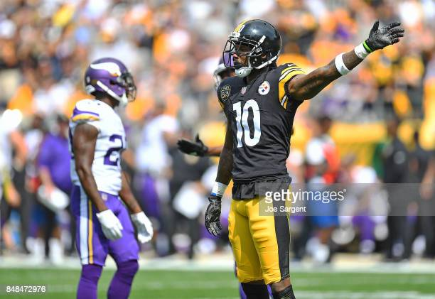 Martavis Bryant of the Pittsburgh Steelers reacts after a reception for a first down in the first half during the game against the Minnesota Vikings...