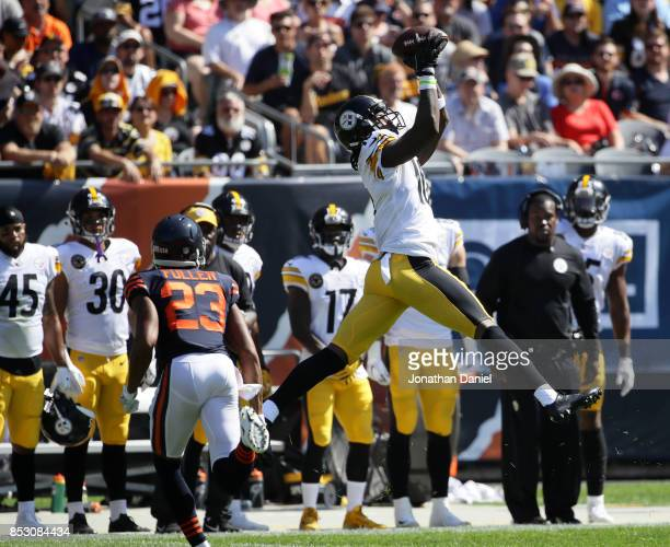 Martavis Bryant of the Pittsburgh Steelers receives a pass in the second quarter against the Chicago Bears at Soldier Field on September 24, 2017 in...