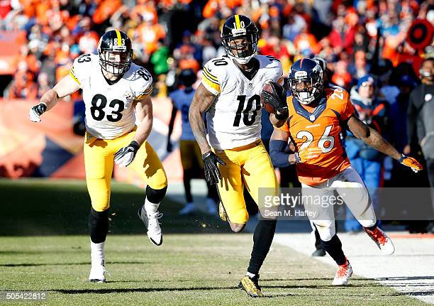 Martavis Bryant of the Pittsburgh Steelers runs the ball after a catch for 40 yards in the first quarter against the Denver Broncos during the AFC...