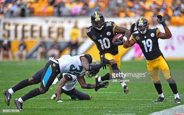 Martavis Bryant of the Pittsburgh Steelers runs upfield after a catch in the second half during the game against the Jacksonville Jaguars at Heinz...