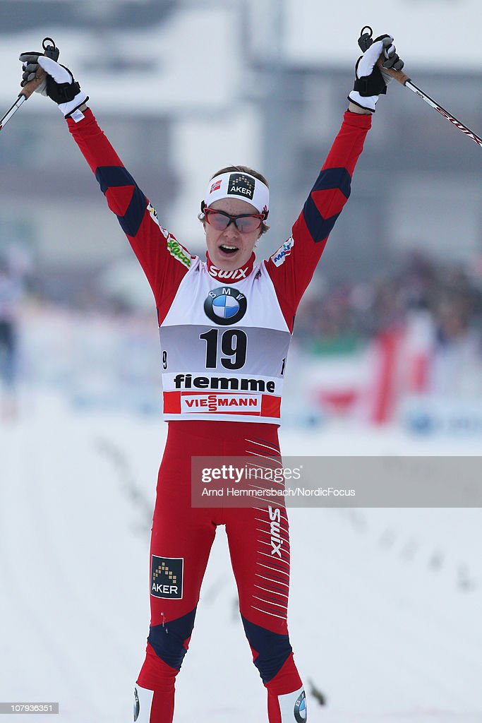 Marte Elden of Norway celebrates her best world cup result so far during the mass women for the FIS Cross Country World Cup Tour de Ski on January 8, 2011 in Val di Fiemme, Italy.