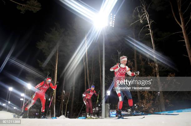 Marte Olsbu of Norway competes during the Biathlon 2x6km Women 2x75km Men Mixed Relay on day 11 of the PyeongChang 2018 Winter Olympic Games at...