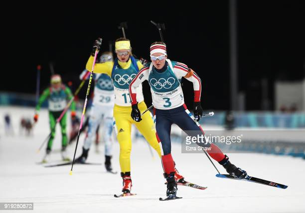 Marte Olsbu of Norway competes during the Women's 125km Mass Start Biathlon on day eight of the PyeongChang 2018 Winter Olympic Games at Alpensia...