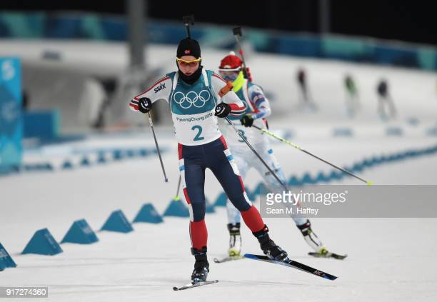 Marte Olsbu of Norway competes during the Women's Biathlon 10km Pursuit on day three of the PyeongChang 2018 Winter Olympic Games at Alpensia...
