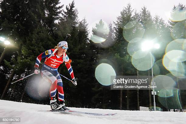 Marte Olsbu of Norway in action during the IBU Biathlon World Cup Men's and Women's Mass Start on December 18 2016 in Nove Mesto na Morave Czech...