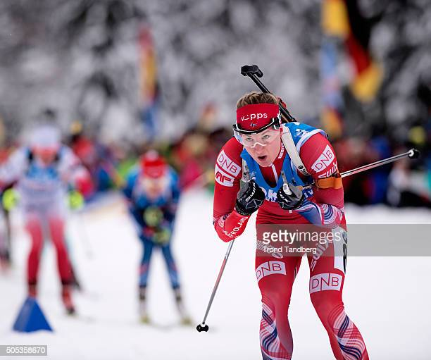 Marte Olsbu of Norway in action during the Women 4 x 5 km relay Biathlon race at the IBU Biathlon World Cup Ruhpolding on January 17 2016 in...