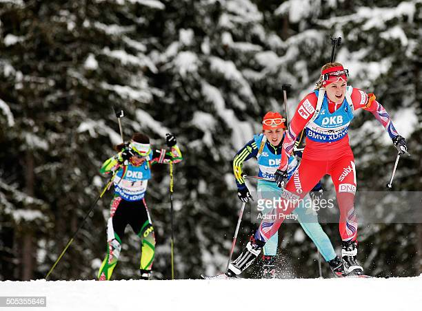 Marte Olsbu of Norway leads the field on lap one of the Women's 4x 6km relay on Day 5 of the IBU Biathlon WOrld Cup Ruhpolding on January 17 2016 in...