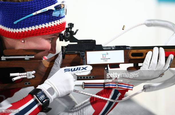 Marte Olsbu of Norway practices prior to the Biathlon 2x6km Women 2x75km Men Mixed Relay on day 11 of the PyeongChang 2018 Winter Olympic Games at...