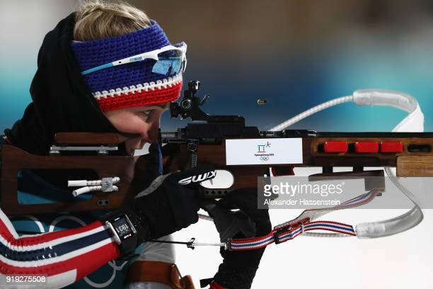 Marte Olsbu of Norway shoots prior to the Women's 125km Mass Start Biathlon on day eight of the PyeongChang 2018 Winter Olympic Games at Alpensia...