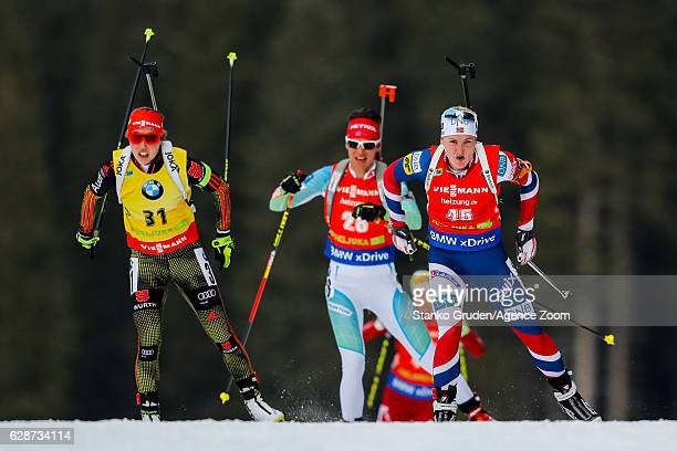 Marte Olsbu of Norway takes 3rd place during the IBU Biathlon World Cup Men's and Women's Sprint on December 09 2016 in Pokljuka Slovenia