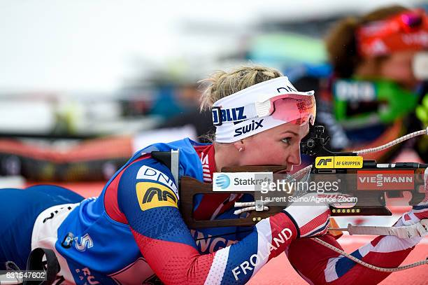 Marte Olsbu of Norway takes 3rd place during the IBU Biathlon World Cup Women's Relay on January 12 2017 in Ruhpolding Germany