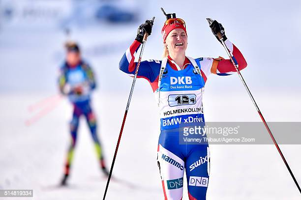 Marte Olsbu of Norway wins the gold medal during the IBU Biathlon World Championships Women's Relay on March 11 2016 in Oslo Norway