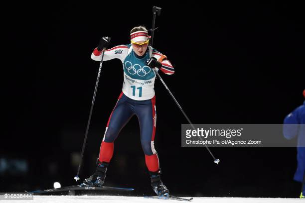 Marte Olsbu of Norway wins the silver medal during the Biathlon Women's 75km Sprint at Alpensia Biathlon Centre on February 10 2018 in Pyeongchanggun...
