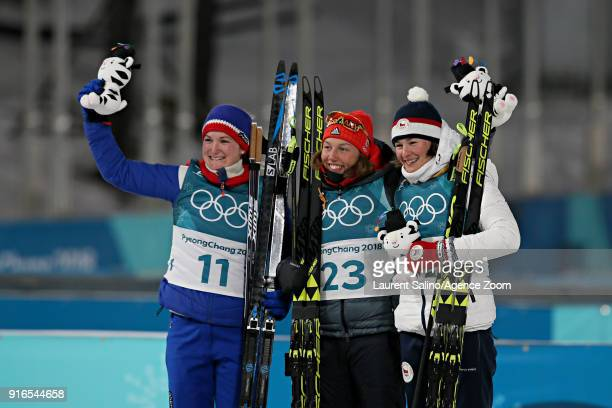 Marte Olsbu of Norway wins the silver medal Laura Dahlmeier of Germany wins the gold medal Veronika Vitkova of Czech Republic wins the gold medal...