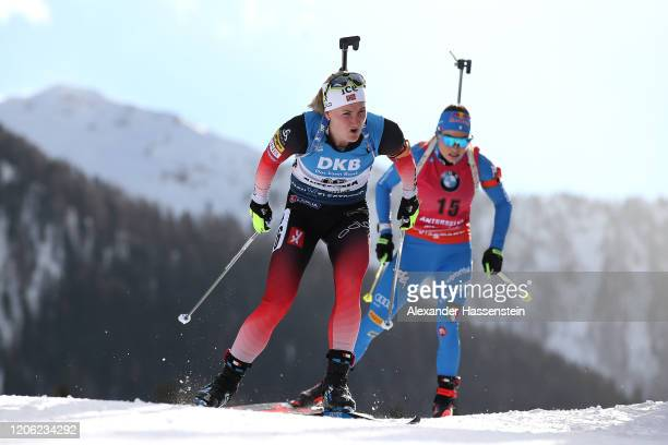 Marte Olsbu Roeiseland of Norway competes during the Women 7.5 km Sprint Competition at the IBU World Championships Biathlon Antholz-Anterselva on...