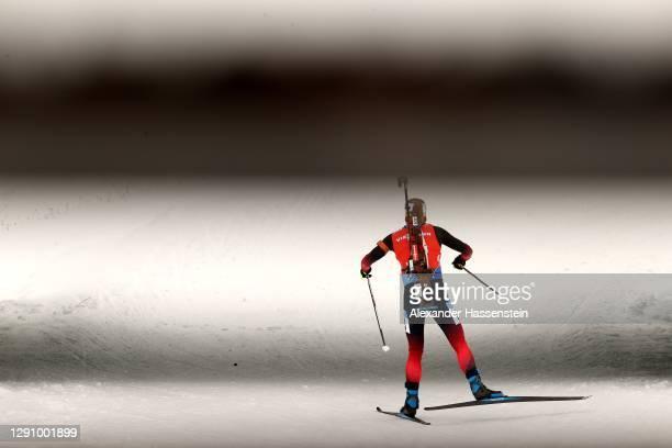 Marte Olsbu Roeiseland of Norway competes in the Women 10 km Pursuit Competition at the BMW IBU World Cup Biathlon Hochfilzen at Biathlon Stadium...