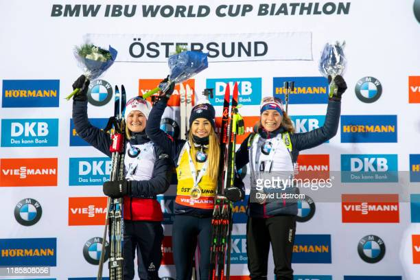 Marte Olsbu Roeiseland of Norway Dorothea Wierer of Italy and Marketa Davidova of Czech Republic at the medal ceremony after the Womens 75 km Sprint...