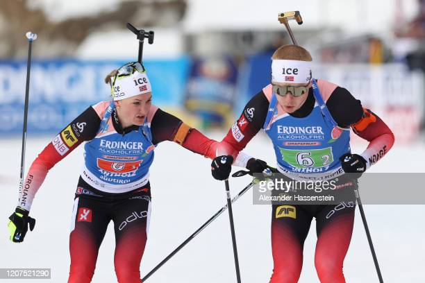 Marte Olsbu Roeiseland of Norway hands over to her team mate Johannes Thingnes Boe during the Single Mixed Relay at the IBU World Championships...