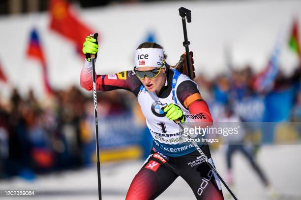 Marte Olsbu Roeiseland of Norway in action competes during the Women 10 km Pursuit Competition at the IBU World Championships Biathlon...