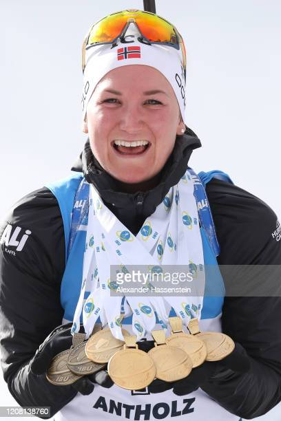 Marte Olsbu Roeiseland of Norway poses with her 5 Gold medals and and 2 Bronze medals after winning the Women 12.5 km Mass Start Competition at the...