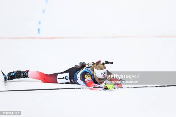 Marte Olsbu Roeiseland of Norway reacts at the finish area after winning the Women 12.5 km Mass Start Competition at the IBU World Championships...